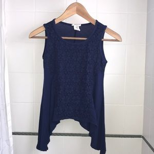 Btween Girls Navy Top with Lace Panel Size 12